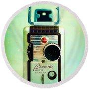 Vintage Kodak Brownie Movie Camera Round Beach Towel