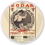 Vintage Kodak Christmas Card Round Beach Towel