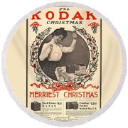 Vintage Kodak Christmas Card Round Beach Towel