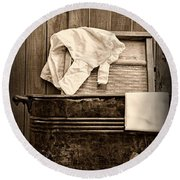 Vintage Laundry Room In Sepia Round Beach Towel
