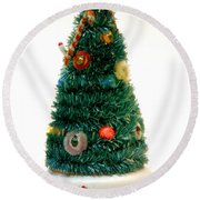 Vintage Lighted Christmas Tree Decoration Round Beach Towel