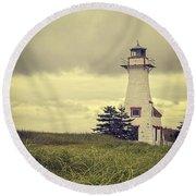 Vintage Lighthouse Pei Round Beach Towel