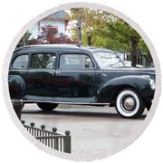 Vintage Lincoln Limo 1941 Round Beach Towel