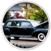 Vintage Lincoln Limo II Round Beach Towel