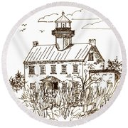 Vintage Lines Of East Point Lighthouse Round Beach Towel