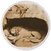 Vintage Lion Of Lucerne Round Beach Towel