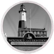 Vintage Looking Montauk Lighthouse Round Beach Towel