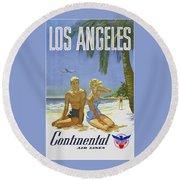 Vintage Los Angeles Travel Poster Round Beach Towel