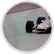 Vintage Lotus Racer In Action Round Beach Towel