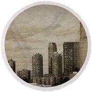 Vintage Manhattan Skyline Round Beach Towel