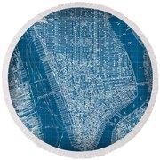 Vintage Manhattan Street Map Blueprint Round Beach Towel