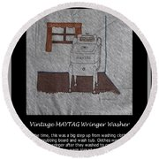 Vintage Maytag Wringer Washer Round Beach Towel