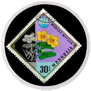 Medicinal Plants - Vintage Mongolia Stamp Round Beach Towel