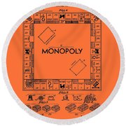 Vintage Monopoly Game Patent Round Beach Towel