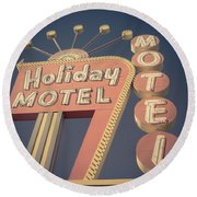 Vintage Motel Sign Holiday Motel Square Round Beach Towel