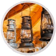 Vintage Oil Lanterns Round Beach Towel by Paul Freidlund