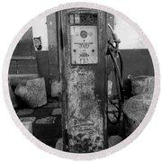 Vintage Old Gas Pump Round Beach Towel