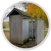 Vintage Outhouse Alongside A Historical Country School In Southwest Michigan Round Beach Towel