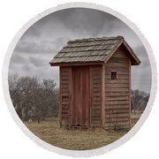 Vintage Outhouse Behind A Historical Country School In Southwest Michigan Round Beach Towel