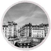 Vintage Paris 5b Round Beach Towel