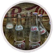 Vintage Pepsi Crate And Bottles Round Beach Towel