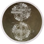 Vintage Phonograph Patent Round Beach Towel