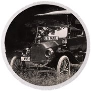 Vintage Photo Of Rural Mail Carrier - 1914 Round Beach Towel