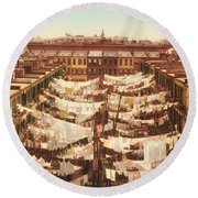 Vintage Photo Of Washing Day In New York City 1900 Round Beach Towel