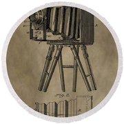 Vintage Photographic Camera Patent Round Beach Towel