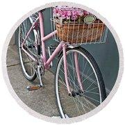 Vintage Pink Bicycle With Pink Flowers Art Prints Round Beach Towel