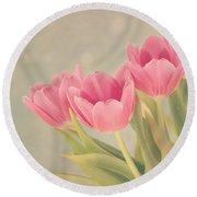 Vintage Pink Tulips Round Beach Towel by Kim Hojnacki