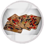 Vintage Playing Cards Art Prints Round Beach Towel
