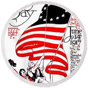 Vintage Poster - America - Flag Day 1917 Round Beach Towel by Benjamin Yeager