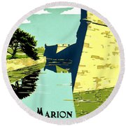Vintage Poster - Fort Marion Round Beach Towel