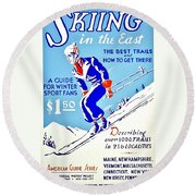 Vintage Poster - Sports - Skiing Round Beach Towel
