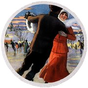 Vintage Poster Couples Skating At Christmas On Frozen Pond Round Beach Towel