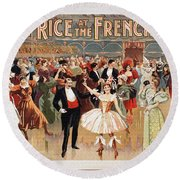 Vintage Poster Fanny Rice At The French Ball Round Beach Towel