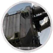 Vintage Power Plant  Part View Industrial Photography Round Beach Towel