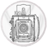 Vintage Press Camera Patent Drawing Round Beach Towel