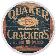 Vintage Quaker Crackers For The Kitchen Round Beach Towel