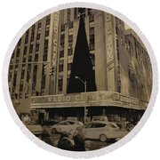 Vintage Radio City Music Hall Round Beach Towel