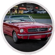 Vintage Red 1966 Ford Mustang V8 Convertible  E48 Round Beach Towel