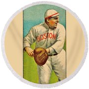 Vintage Red Sox Round Beach Towel by Benjamin Yeager