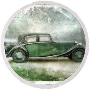 Vintage Rolls Royce Round Beach Towel by David Ridley