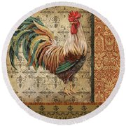 Vintage Rooster-a Round Beach Towel