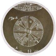 Vintage Roulette Wheel Patent Round Beach Towel