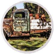 Vintage Rusty Old Truck 1940 Round Beach Towel