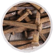 Vintage Rusty Square Nails Round Beach Towel
