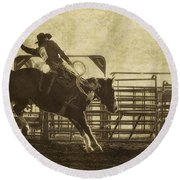 Vintage Saddle Bronc Riding Round Beach Towel