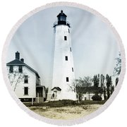 Vintage Sandy Hook Lighthouse Round Beach Towel